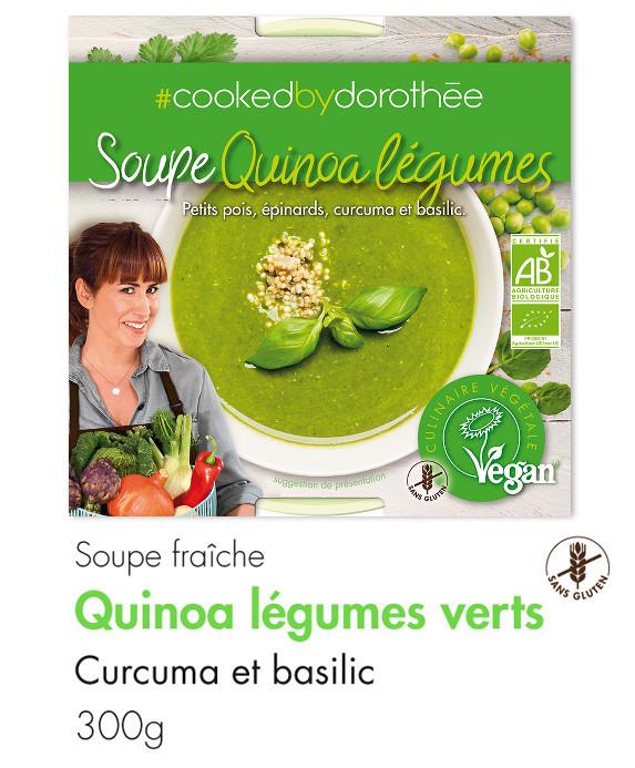 Soupe quinao et légumes verts